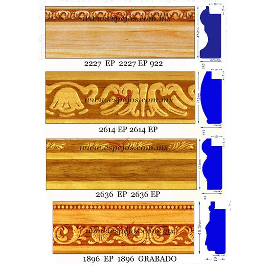 Moldura de madera secc 6 moldura de madera grabada for Molduras para espejos online